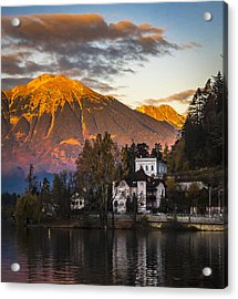 Sunset At Bled Acrylic Print