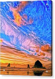 Sunset At Cannon Beach Acrylic Print