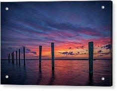 Sunset At Cedar Beach Marina Acrylic Print by Rick Berk