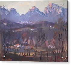 Sunset At Dolomites Belluno Acrylic Print by Ylli Haruni