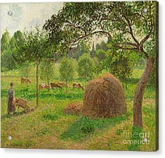 Sunset At Eragny Acrylic Print by Camille Pissarro