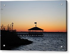 Sunset At Fagers Island Gazebo Acrylic Print