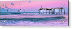 Acrylic Print featuring the photograph Sunset At Frisco Fishing Pier Panorama by Ranjay Mitra