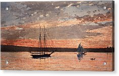 Sunset At Gloucester Acrylic Print by Winslow Homer