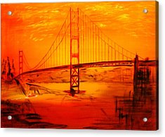 Sunset At Golden Gate Acrylic Print by Helmut Rottler