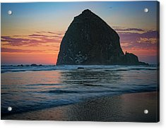 Acrylic Print featuring the photograph Sunset At Haystack Rock by Rick Berk