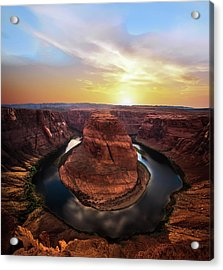 Sunset At Horseshoe Bend Acrylic Print by Larry Marshall