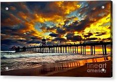 Sunset At Huntington Beach Pier Acrylic Print by Peter Dang
