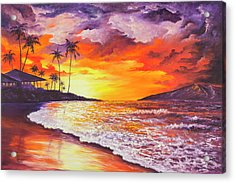 Acrylic Print featuring the painting Sunset At Kapalua Bay by Darice Machel McGuire
