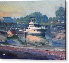 Sunset At Kellys And Jassons Boat Acrylic Print
