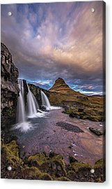 Sunset At Kirkjufellsfoss Acrylic Print by Roman Kurywczak