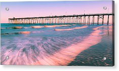 Acrylic Print featuring the photograph Sunset At Kure Beach Fishing Pier Panorama by Ranjay Mitra