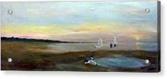 Sunset At Margate With Boats And A Boy With A Toy Boat Acrylic Print