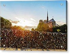 Sunset At Notre Dame De Paris Acrylic Print