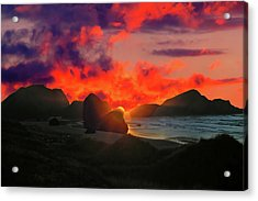 Sunset At Oregon Beach Acrylic Print