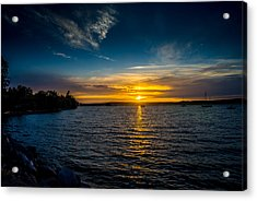 Sunset At Penn Cove Acrylic Print by TL  Mair