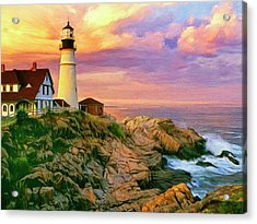 Sunset At Portland Head Acrylic Print by Dominic Piperata