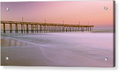 Acrylic Print featuring the photograph Sunset At Rodanthe Fishing Pier In Obx Panorama by Ranjay Mitra