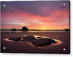 Sunset At Ruby Beach Acrylic Print