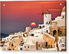 sunset at Santorini Acrylic Print