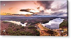 Sunset At Saville Dam - Barkhamsted Reservoir Connecticut Acrylic Print by Petr Hejl