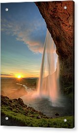 Sunset At Seljalandsfoss Acrylic Print by Peter OReilly