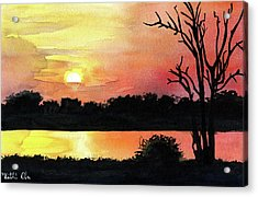 Acrylic Print featuring the painting Sunset At Shire River In Malawi by Dora Hathazi Mendes