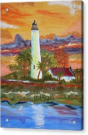 Sunset At St. Mark's Lighthouse Acrylic Print by Warren Thompson