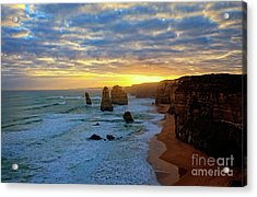 Sunset At The 12 Apostles Acrylic Print by Franz Zarda