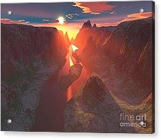 Sunset At The Canyon Acrylic Print by Gaspar Avila