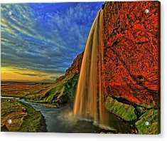 Acrylic Print featuring the photograph Sunset At The Falls by Scott Mahon