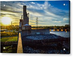 Sunset At The Flood Wall Acrylic Print