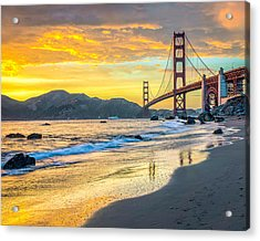 Sunset At The Golden Gate Bridge Acrylic Print