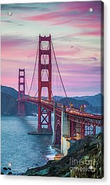 Sunset At The Golden Gate Acrylic Print