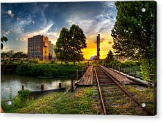 Sunset At The Imperial Sugar Factory Smoke Stacks Early Stage Landscape Acrylic Print by Micah Goff