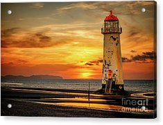Sunset At The Lighthouse Acrylic Print by Adrian Evans