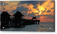 Sunset At The Naples Pier Acrylic Print