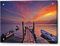 Sunset At The Panajachel Pier On Lake Atitlan, Guatemala Acrylic Print