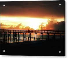 Sunset At The Pier Acrylic Print by Bill Cannon