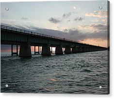 Acrylic Print featuring the photograph Sunset At The Seven Mile Bridge by Nancy Taylor