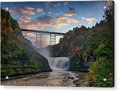 Sunset At The Upper Falls Acrylic Print by Rick Berk