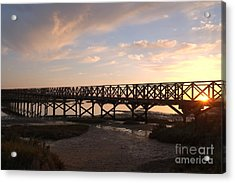 Sunset At The Wooden Bridge Acrylic Print