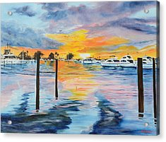 Sunset At The Yacht Club Acrylic Print by Lloyd Dobson