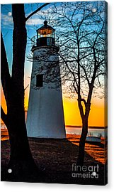 Acrylic Print featuring the photograph Sunset At Turkey Point Lighthouse by Nick Zelinsky