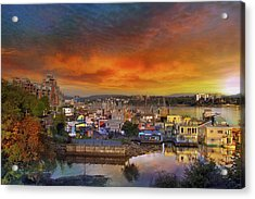 Sunset At Victoria Inner Harbor Fisherman's Wharf Acrylic Print by David Gn