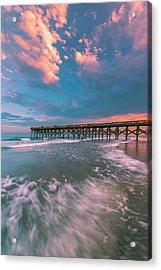 Sunset At Wilmington Crystal Pier In North Carolina Acrylic Print