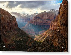 Acrylic Print featuring the photograph Sunset At Zion Canyon Overlook by Owen Weber