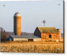 Acrylic Print featuring the photograph Sunset Barn by Dan Traun