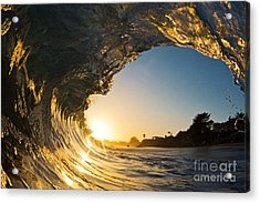 Acrylic Print featuring the photograph Sunset Barrel Wave On Beach by Paul Topp