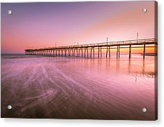 Acrylic Print featuring the photograph Sunset Beach Fishing Pier In The Carolinas At Sunset by Ranjay Mitra